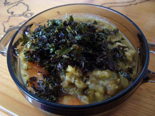Mung Bean Soup with Roasted Kale
